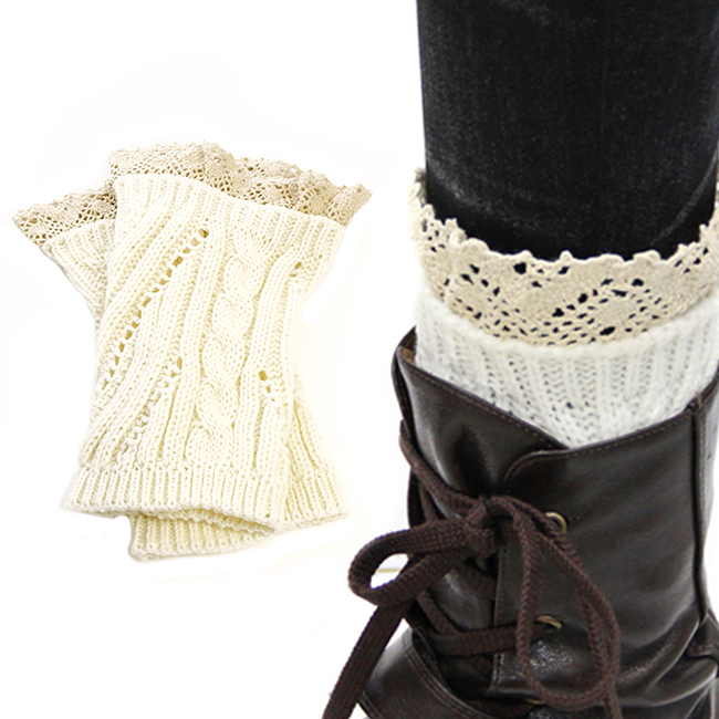 White Boot Crochet Toppers with Lace