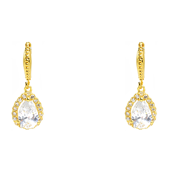 Gold Cubic Zirconia Teardrop French Clip Earrings