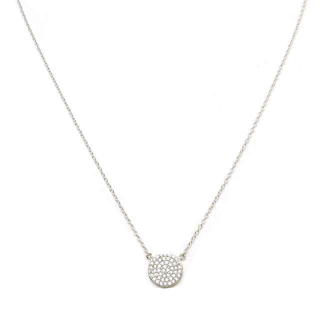 Sterling Silver Pave Disc Necklace