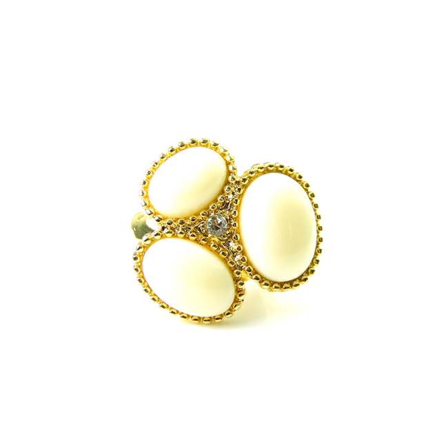 Gold and Ivory Three Oval Stretch Ring