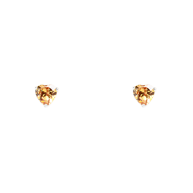 Sterling Silver and Topaz Cubic Zirconia Post Earrings