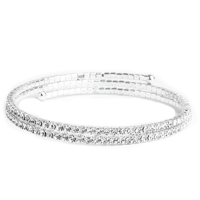 Two Line Thin Silver Gold Crystal Studded Coil Bracelet