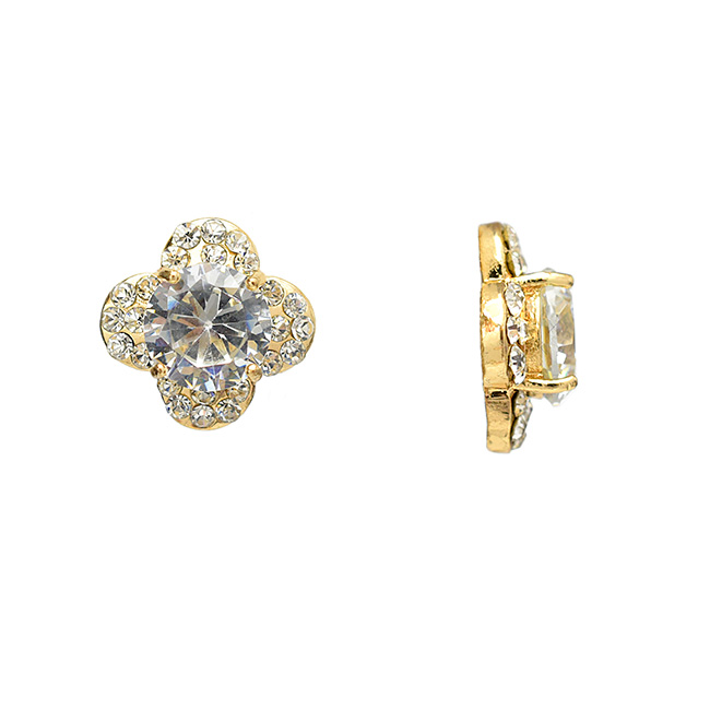 Gold and Clear Cubic Zirconia Flower Post Earrings