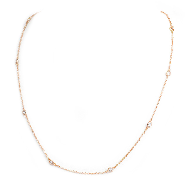 "16"" Rose Gold 4mm Cubic Zirconia Station Necklace"