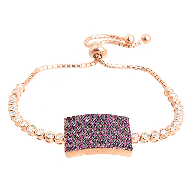 Sterling Silver Rose Gold Plated and Cubic Zirconia Pave Pull Tie Bracelet