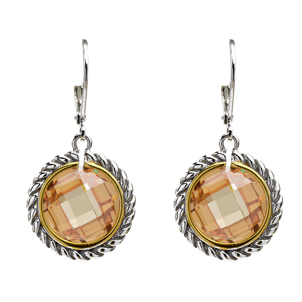 Two Tone Cubic Zirconia Dangle Earrings