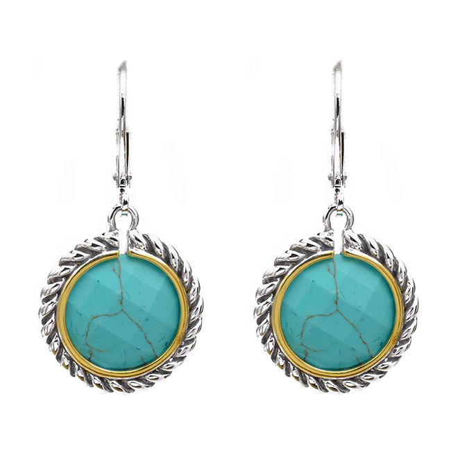 Two Tone Turquiose Dangle Earrings