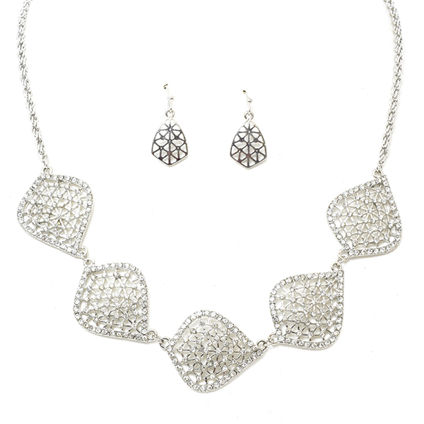 Silver Tone Necklace Set w/ Oval Filigree & Crystal Stations