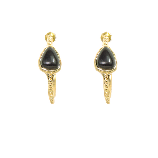 Small Gold Open Hoop Post Earrings with Black