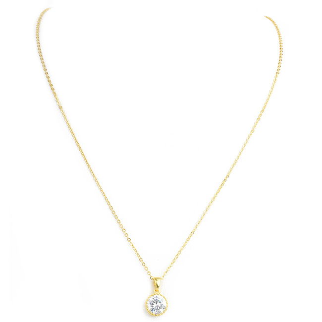 Gold Round Cubic Zirconia Pendant Necklace