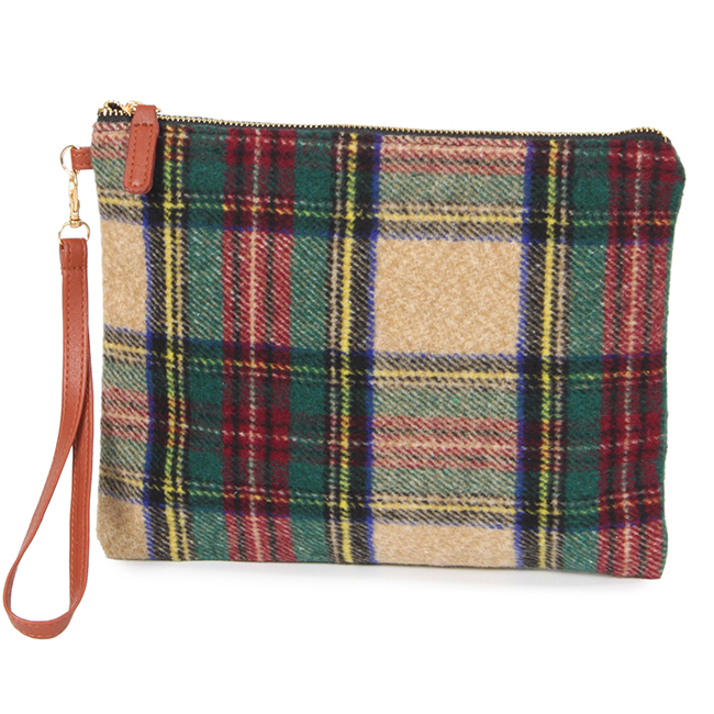 Plaid Clutch with Wristlet