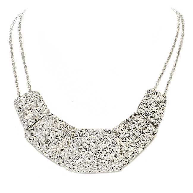 Silver Tone Curve Design with Texture Necklace