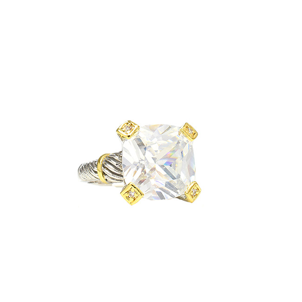 Two Tone Square Cubic Zirconia Ring