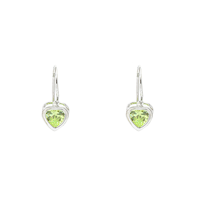 Sterling Silver Heart Earrings with Cubic Zirconia