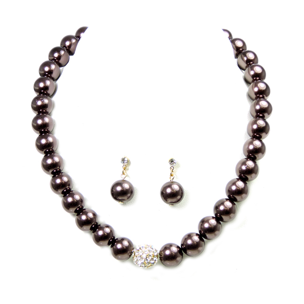 Pearl Necklace Set with Crystal Studded Station