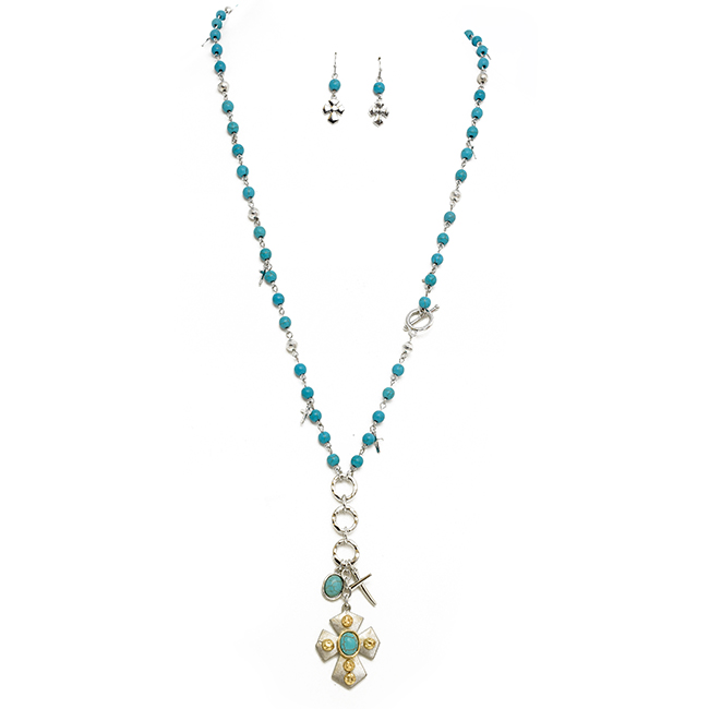 Turquoise and Silver Beaded Pendant Necklace Set