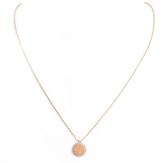 Brushed Rose Gold and Cubic Zirconia Round Brass Necklace