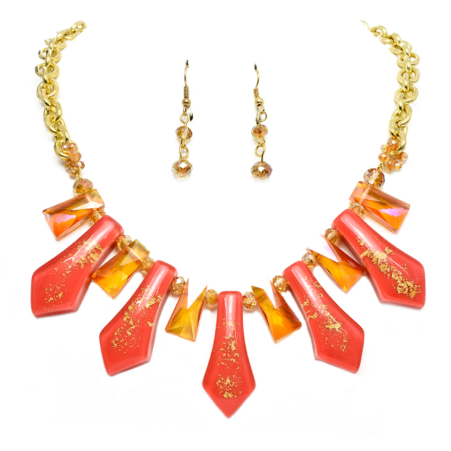 Gold and Coral Statement Necklace