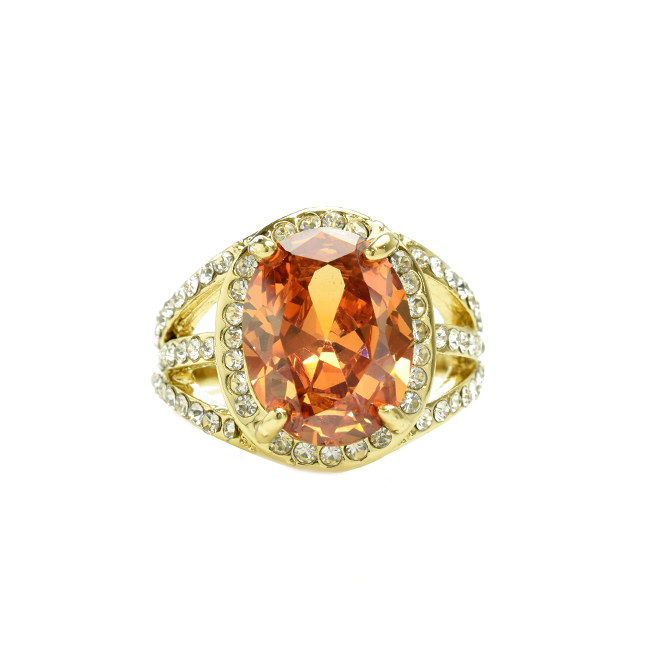 Gold Tone Oval Shape Cubic Zirconia Topaz Ring