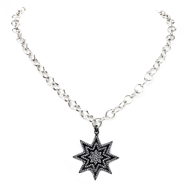 Linked Chain Necklace with Cubic Zirconia Starburst Necklace