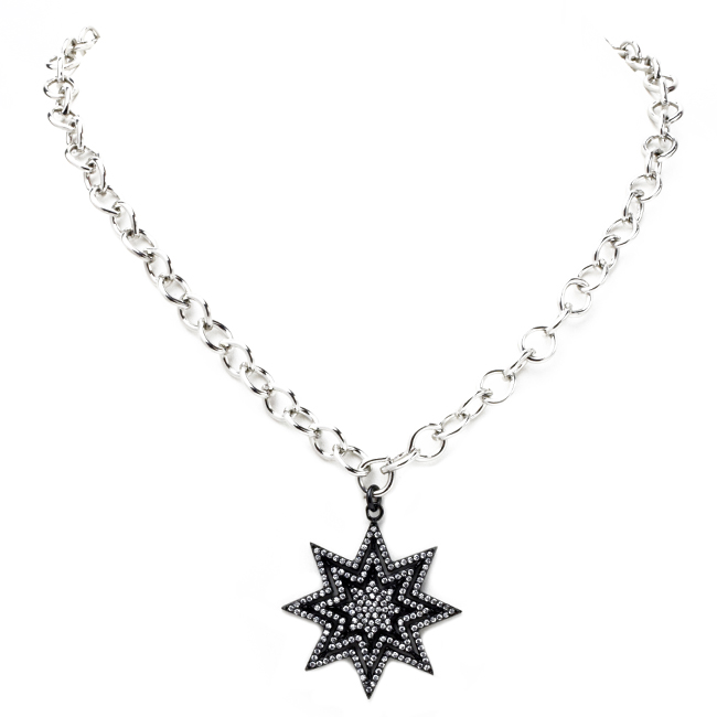 Linked Chain Necklace with Cubic Zirconia Starburst Pendant