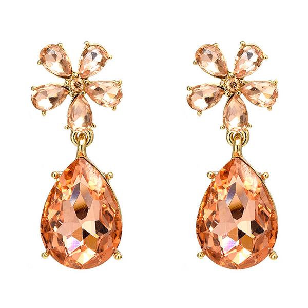 Rose Gold Crystal Studded Flower Dangle Earrings