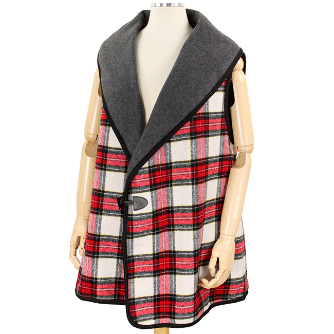 Plaid Vest with Toggle Button