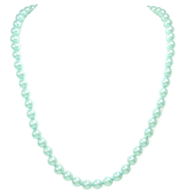 "48"" Aqua Pearl Beaded Necklace"