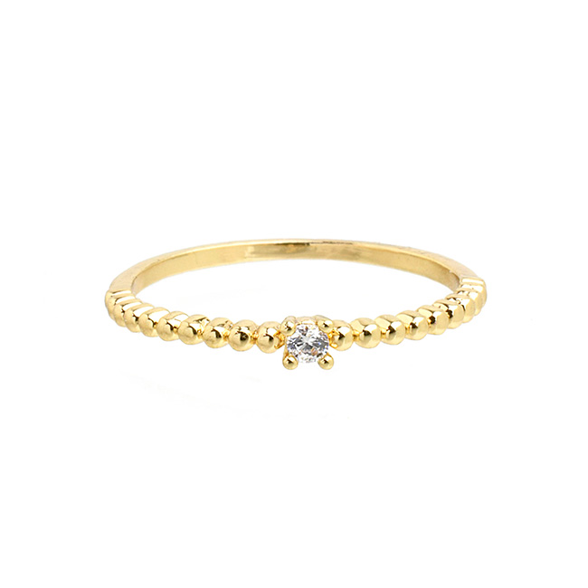 Gold Cubic Zirconia Band Ring