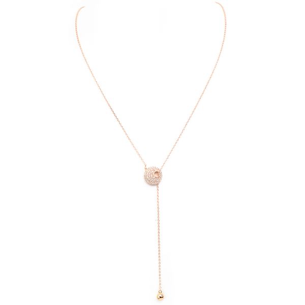 Rose Gold Cubic Zirconia Pave Adjustable Lariat Necklace