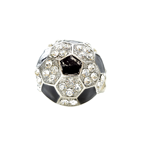 Silver Crystal Studded Soccer Stretch Ring