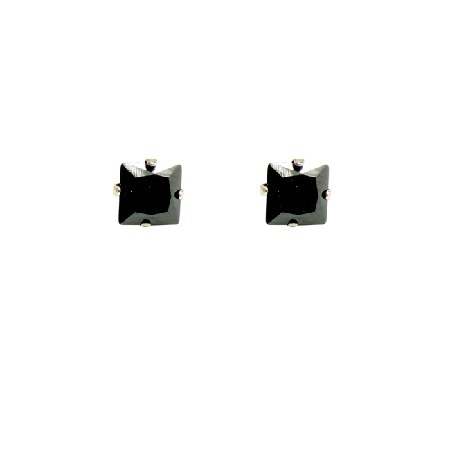 Black Square Sterling Silver CZ Stud Post Earrings.