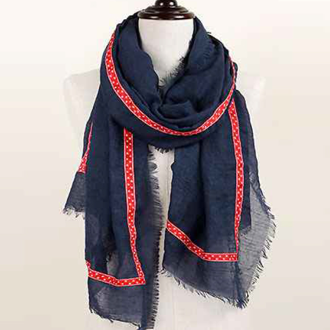 Anchor Ribbon Border Oblong Scarf