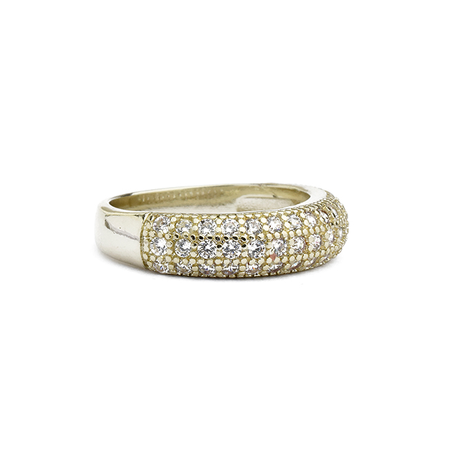 Gold Cubic Zirconia Pave Band Ring