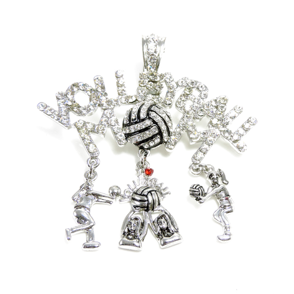 Volleyball Mom Crystal Magnetic Charm Pendant