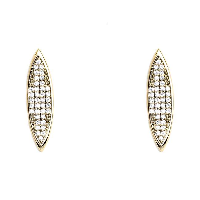 Gold Oval Elongated Cubic Zirconia Post Earrings