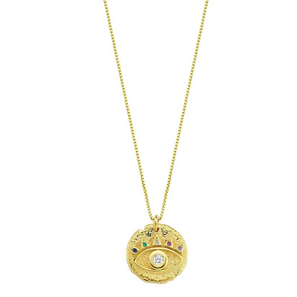 Sterling Silver Gold Plated Multi Color CZ Eye Pendant Necklace
