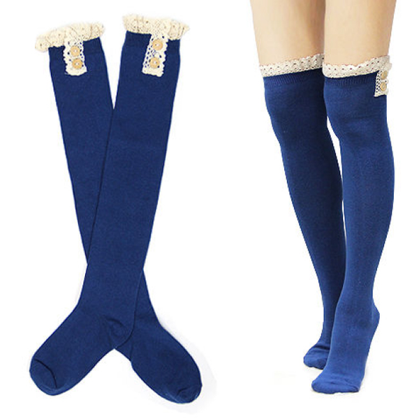 Blue Cotton Over Knee Socks with Lace and Buttons