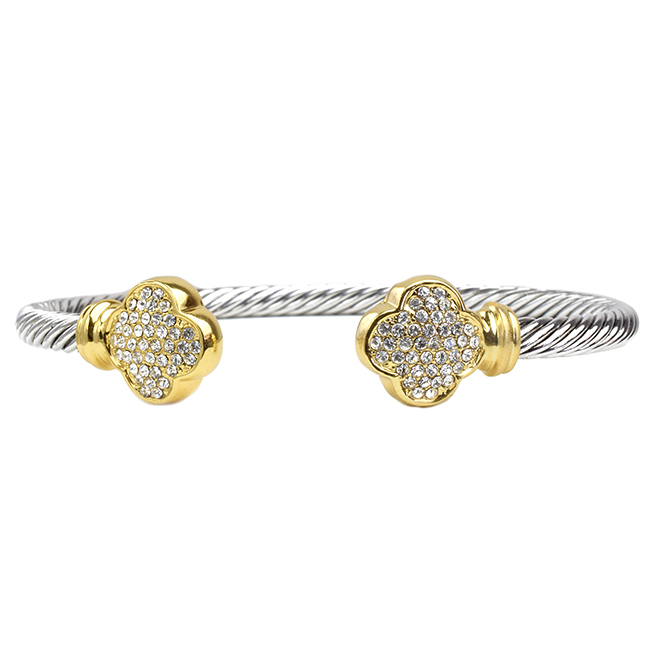 Two Tone Twisted Cable Clover Cuff Bracelet with Cubic Zirconia