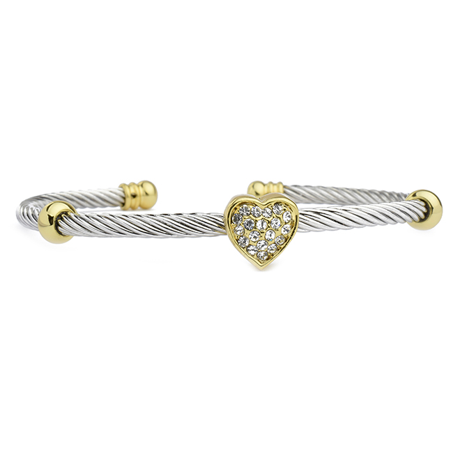 Two Tone Cubic Zirconia Pave Heart Cuff Bracelet