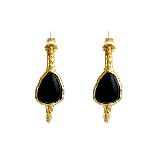 Gold Hoop Earrings with Onyx Center Stone