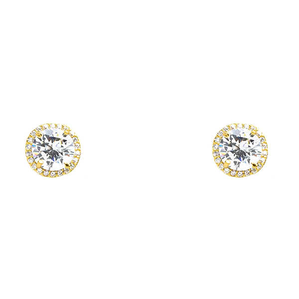 Gold Cubic Zirconia Round Post Earrings