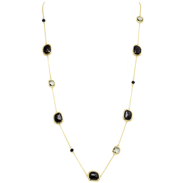 Gold Chain with Semi Precious & Cubic Zirconia Stations