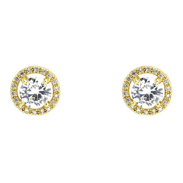 Gold Cubic Zirconia Stud Earrings