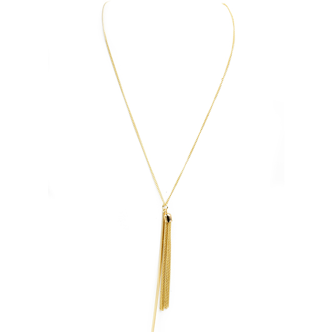Gold Necklace with Tassel Charm