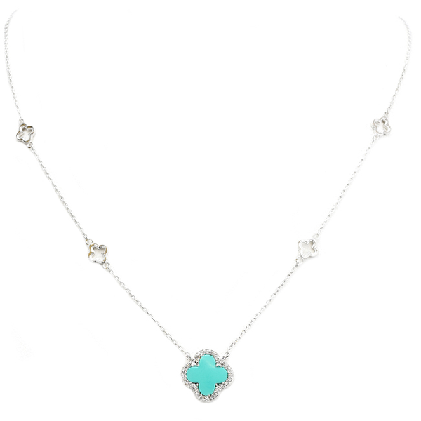 Silver Chain Necklace with Clover Stations and Turquoise Clover
