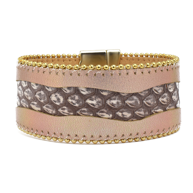 Snake Skin Leather Magnetic Bracelet
