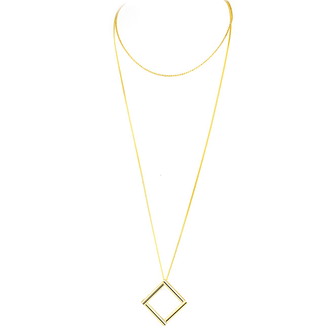 Gold Double Chain with Shiny Silver Square Pendant