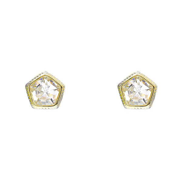 Pentagon Cubic Zirconia Post Earring