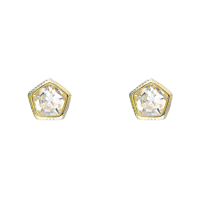 Two Tone Cubic Zirconia Post Earring